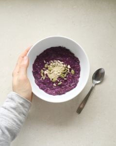 Purple carrots packing some anthocyanins into my porridge.
